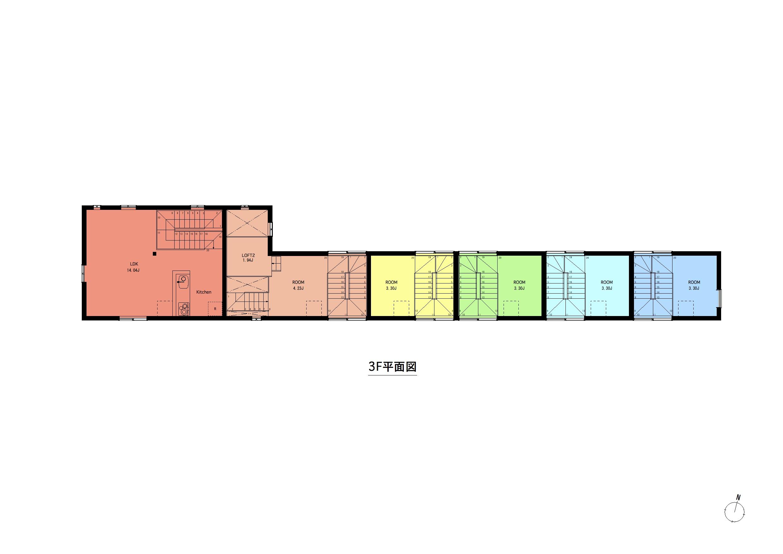 西瑞江_間取り図(全体平面)3F